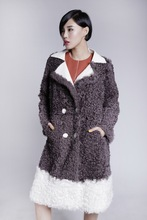 Factory wholesale long little lamb fur coat with curvely hairs fashionable for women winter