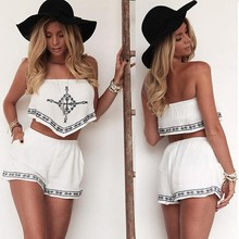 2015 Wholesale Sexy Women Clothing Women Irregular Crop Tops And Pocket Shorts Two Piece Set SV022566
