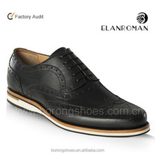 Brogue casual leather men shoe made in Italy for new style