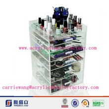 Factory custom design clear 6 tier hot sale acrylic drawer 2015