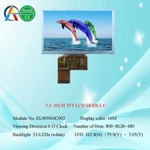 "5.0"" 800X480 Resolution TFT LCD Module Display w/ Touch Panel Screen for GPS"