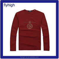 long sleeves custom logo fashion cotton o neck t shirts