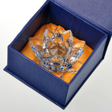 Magnificent Royal Blue Business Crystal Lotus Craft For Office Table Sets