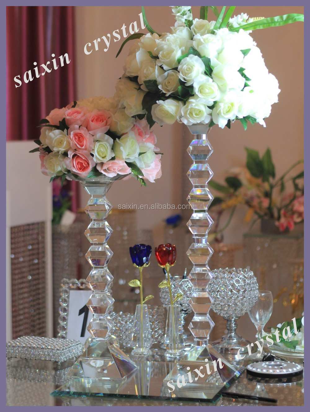 Shiny Crystal Wedding Flower Stands For Wedding Decoration - Buy ...