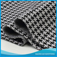 Black and white jersey knit fabric wholesale houndstooth printed fabric/swallow gird fabric