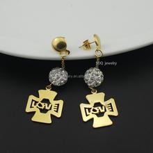 Fashionable Crystal Stainless Steel Rhinestone Earrings Chandelier for Women Jewelry
