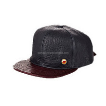 CUSTOM LOGO BROWN AND BLACK FAUX SNAKESKIN LEATHER SNAPBACK CAP AND HAT