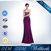Charming slim dress with beaded bow purple mermaid backless turkey evening dress 2015