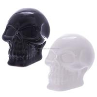 Ceramic Skull White & Black Money Box