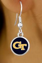 "Lead, Cadmium, & Nickle Free Georgia Tech ""Yellow Jackets"" Logo Earring College Jewelry"