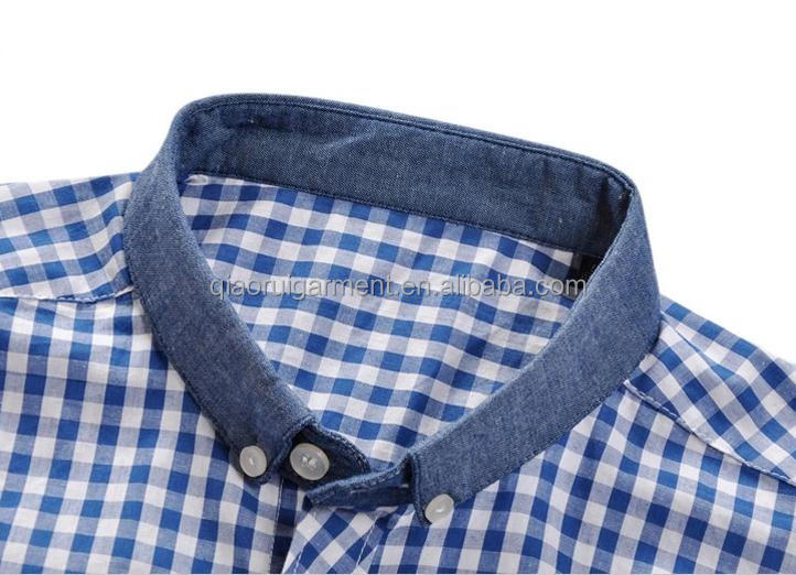 New design men 39 s long sleeve blue check casual shirt with for New check designs