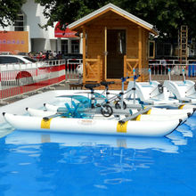 Antirust Aluminum frame PVC Pontoons inflatable two riders water wheels water bikes water bicycle for sale