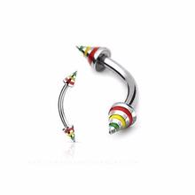 Body Piercing Jewelry Rasta Jamican Stripe Cone Eyebrow Bent Curve Eyebrow Ring