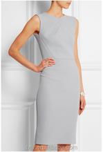 Vestidos 2015 mujeres de lana gris claro Crepe sin mangas para mujer vestidos elegante y vestido de moda para mujeres