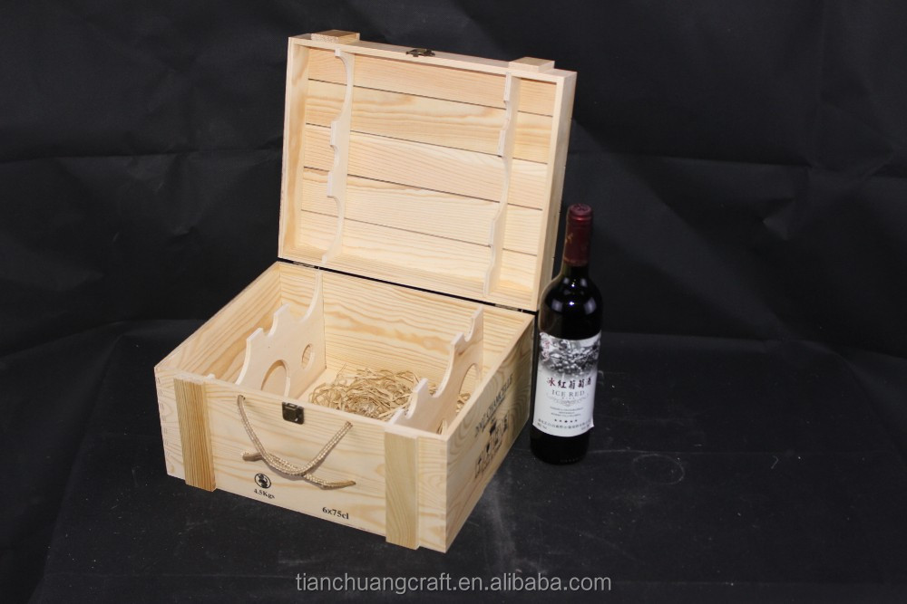 6 bottle wooden wine boxes wooden wine crates with rope for Where to buy used wine crates