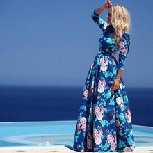 Women casual one piece dress in floral print long sleeves chiffon maxi beach long dresses