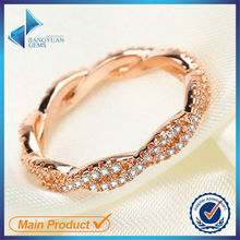 Hot sale rose gold 925 sterling silver white zircon stone ring