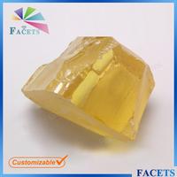 FACETS GEMS Synthetic CZ Gemstone Rough Unpolished Yellow Gemstone Rough