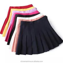 MS70881L Wholesale 2015 high quality ladies short skirt women 8 clolors pleated mini skirt