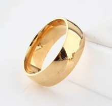 Glossy Golden Never fading 18k Classic Wedding 8mm 18K yellow Gold filled Titanium steel rings for men and women jewelry