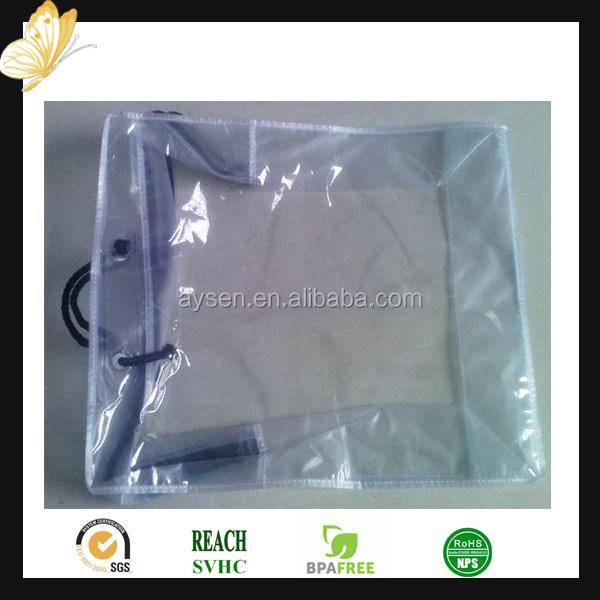 Mango y pantalla imprenta superficie manejo de vinilo pvc transparente con cremallera bolsas de manta