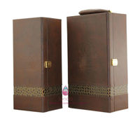 high end leather coating wooden wine carrying case