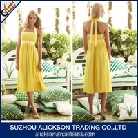 ZYX-665 A Line Tea Length Ruffle Halter Short Yellow Bridesmaid Dresses