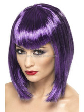 Adult Ladies Short Purple Gothic Bob Witch Vampiress Wig