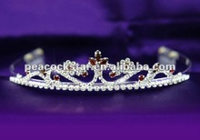 Bridal Wedding Dark Red Crystal Rhinestone Tiara Comb CT1199