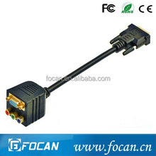 DVI(24+5) male to 3 female RCA + VGA female converter splitter cable