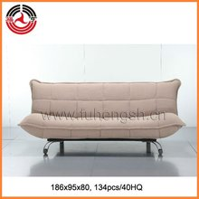 Modern 3 position Ivory fabric bed sofa with Piping sharp corners style