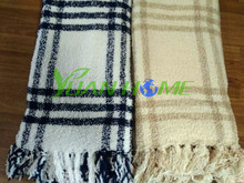 Stock Stripe Plush Fuzzy Fleece Sofa Throws With Fringes ( YH-9001)