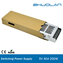 5V 40A 200W DC single output ultra thin slim switching power supply with universal AC input