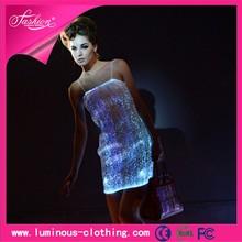 Light up de fibra óptica luminosa ropa ropa ropa vestido de noche atractiva caliente para mujeres