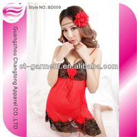 Made in China Fashion Style lingerie for fat women babydoll with big flowers(BD009)