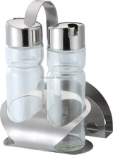 hot new product glass bottles for oil and vinegar,spice rack with bottle jars,metal condiment set