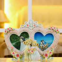 """hot sale double heart shaped love photo frame for wedding decor resin 2.5"""" x 2.5"""" 0.4kg european style custom made picture frame"""