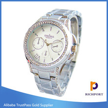 Golden silver rose gold stainless steel wrist watch for women
