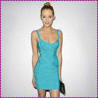 Vestidos Evening and Formal Dresses Sexy Blue Spaghetti Strap Prom Dresses for Red Carpet