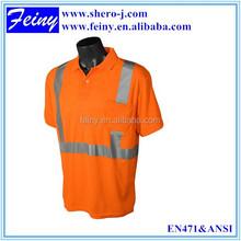 promotion polo sport/work reflective fluorescent orange t shirt