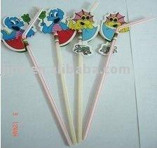 Colorful fruit picks 100pcs/box drinking straws