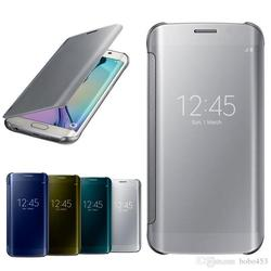 Alibaba China Clear view cover For S6 Edge case Flip smart cases Mirror Screen PC Transparent cover For Samsung Galaxy S6 Edge
