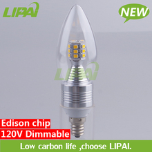 Factory direct sale 4W 5W E12 LED dimmable candle light Edison 2835 chip with PC cover 120V 230V