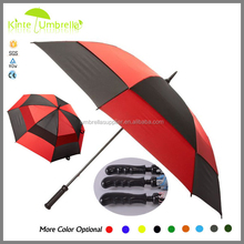 Portable Rain Gear Promotional Red and Black Windproof Double Canopy Golf Umbrella