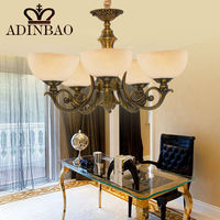 New 5 light up lamp cover copper glass chandelier 8015-5