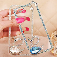 Cell phone accessories swan Diamond jewelry rhinestone bling phone case for iphone 6 plus jewelry cases