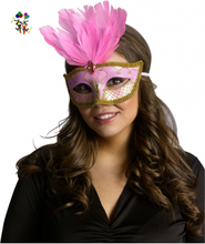 Venetian Mardi Gras Party Pink Masquerade Feather Carnival Masks HPC-0481
