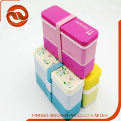best design Easy carrying plastic lunch box PP two tiers recyclable bento boxes