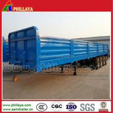 China 4Axles Utility Flat Bed Trailer with Sidewalls / Container Locks / Posts Optional