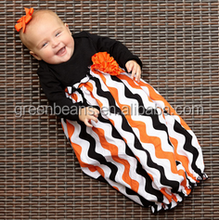 Wholesale orange and black with flower brooch cotton baby clothes wholesale price halloween gown baby dress